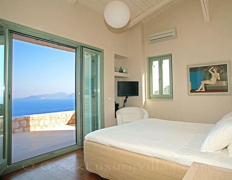 A bedroom with fantastic sea view in a luxury villa with a pool in Lefkada