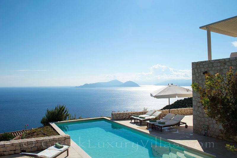 A luxury villa with a pool and stunning seaview in Lefkas