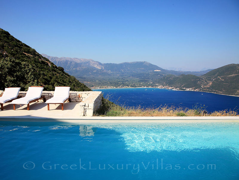 A luxury villa in Lefkas with a pool and amazing seaview of Vassiliki