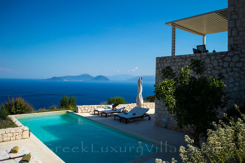 A luxury villa  with a pool and amazing seaview of Lefkas