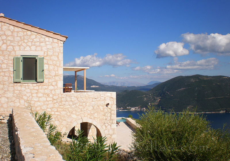 A luxury villa in Lefkas with a pool and amazing seaview over Vassiliki