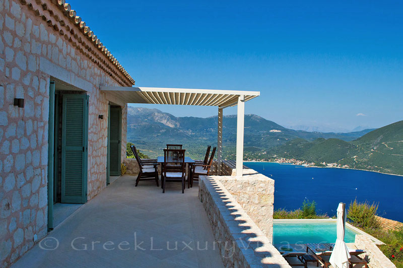 A veranda of a luxury villa  in Lefkada with fantastic seaview