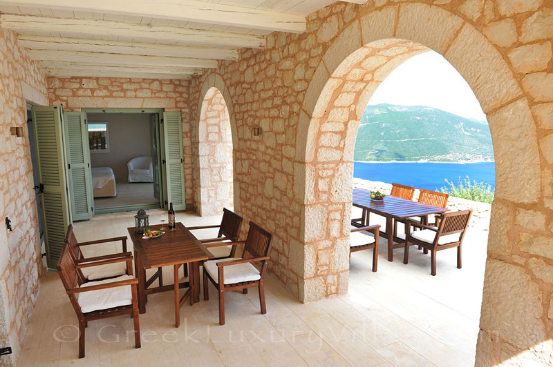 A luxurious villa in Lefkada with a pool and seaview from the veranda