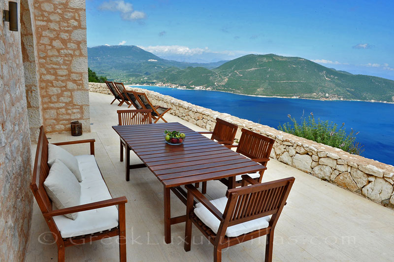 A luxurious villa in Lefkas with a pool and seaview from the veranda