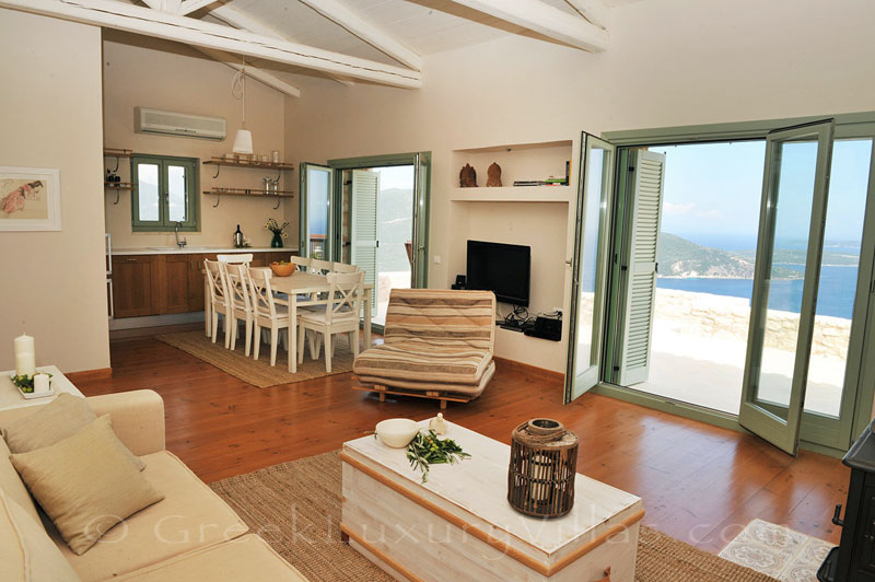Open plan living-room in a luxurious villa with a pool in Lefkada