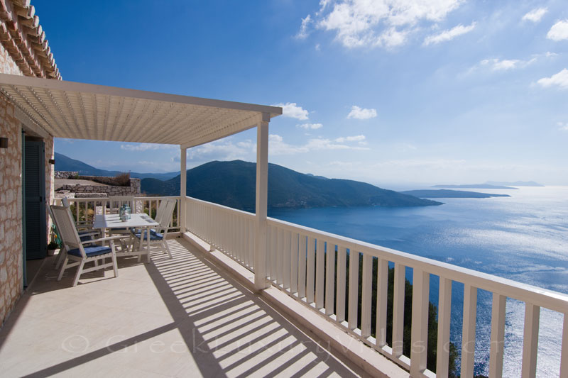 The seaview from the balcony of a villa with a pool in Lefkada