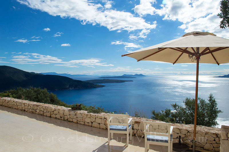 Ocean view from the terrace of a bedroom of a villa with seaview and a pool in Lefkada