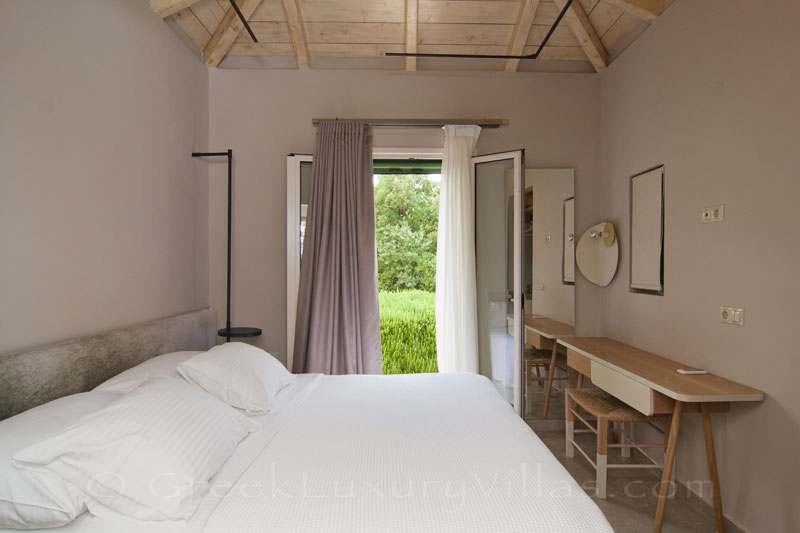 Bedroom in modern villa on Lefkas