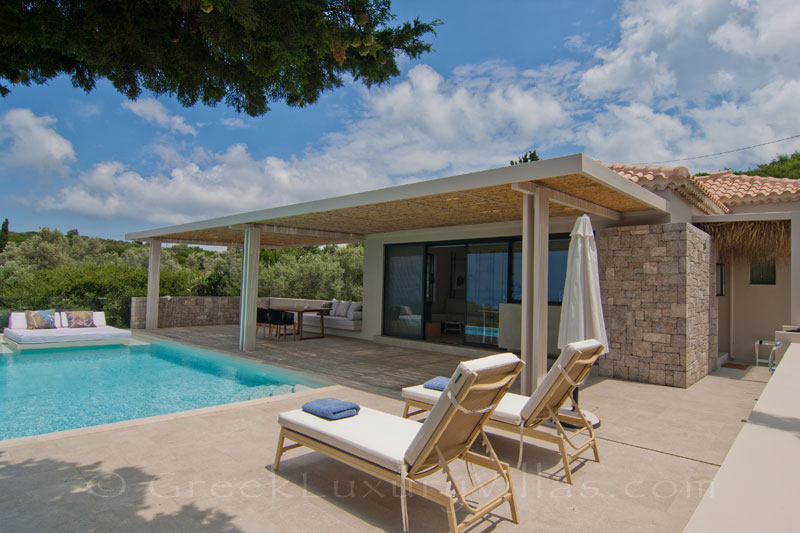 Seaview from a modern villa with pool in Lefkas
