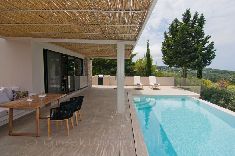Breakfast in a modern villa with seaview and pool in Lefkas