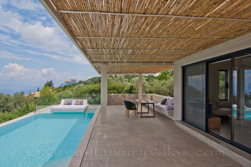 Pool and seaview from modern villa in Lefkas