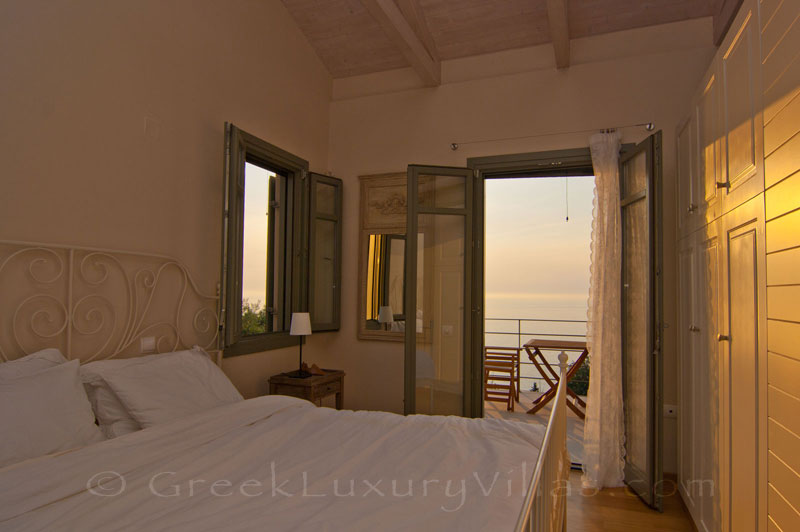 Seaview from a bedroom in the villa with a pool in Lefkas