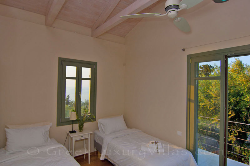 Seaview from the single-beds bedroom in a villa with a pool in Lefkas