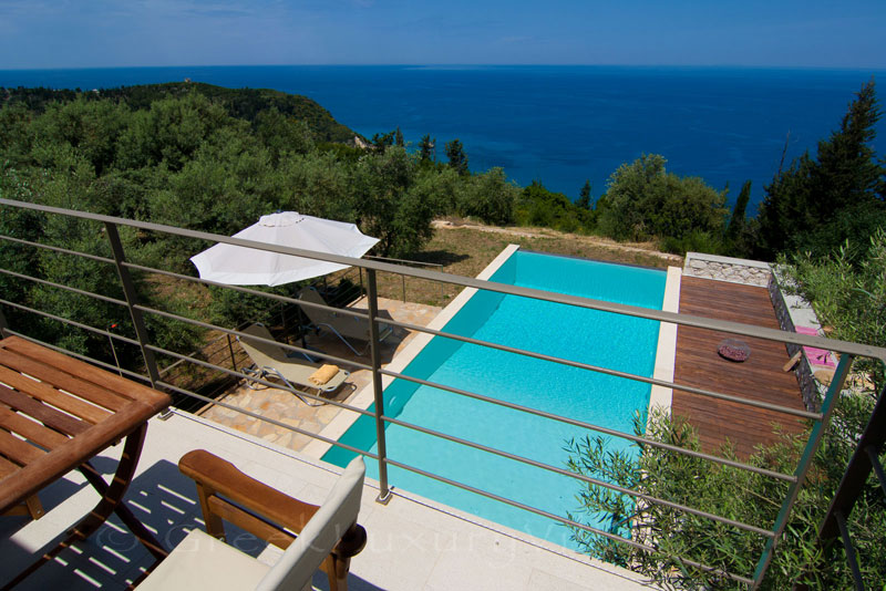 Seaview from the villa with a pool in Lefkada