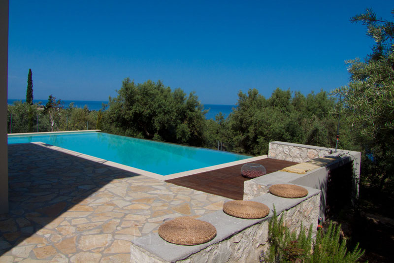 A villa with a pool in Lefkada with seaview