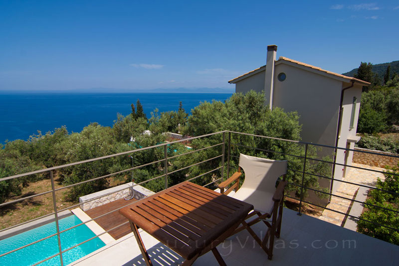 The seaview from the balcony of the villa with a pool in Lefkas