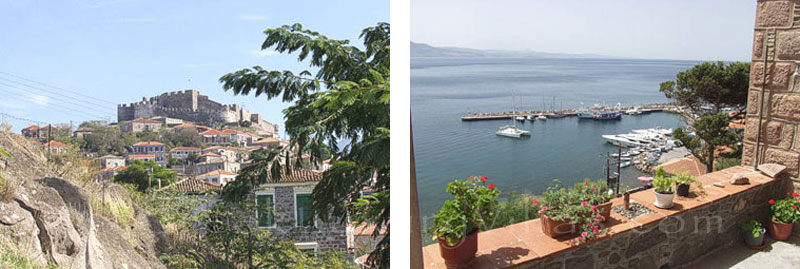The view of the marina from a holiday house in Molivos, Lesvos