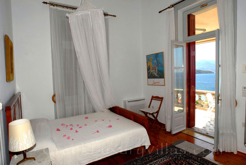 Lesvos traditional villa with pool in Molivos bedroom
