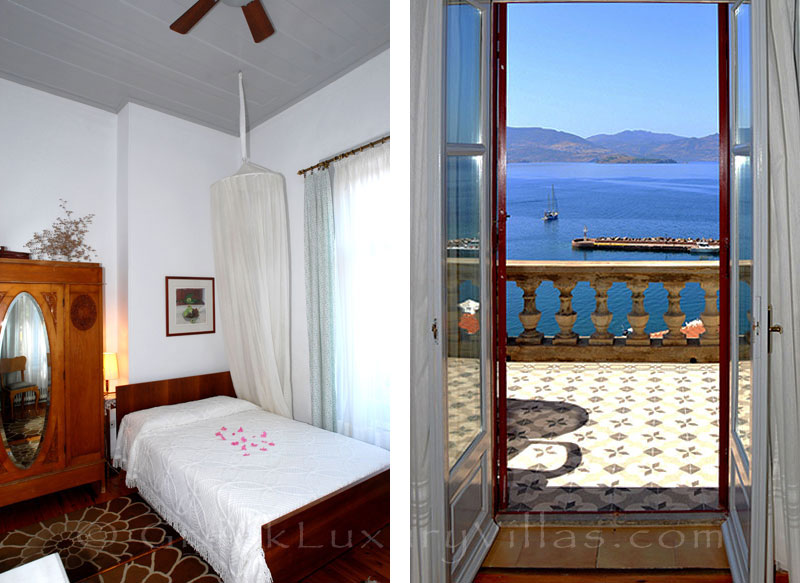 Lesvos traditional villa with pool in Molivos bedroom sea view