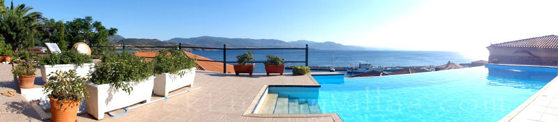 Panorama view of traditional villa with pool in Molivos, Lesvos