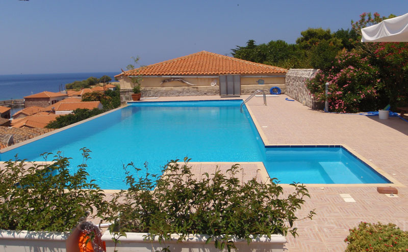 Pool terrace of traditional villa with pool in Molivos, Lesvos