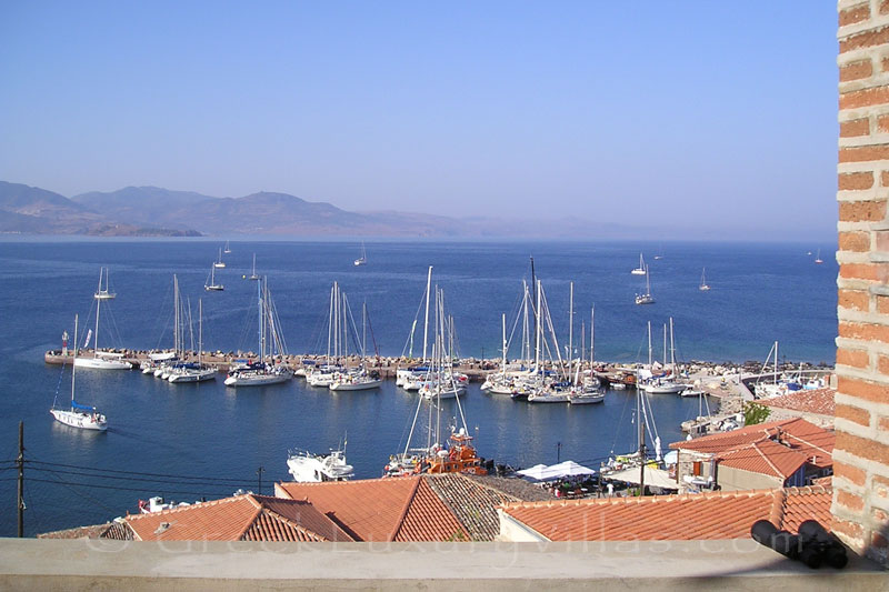 View to Marina from traditional villa with pool in Molivos