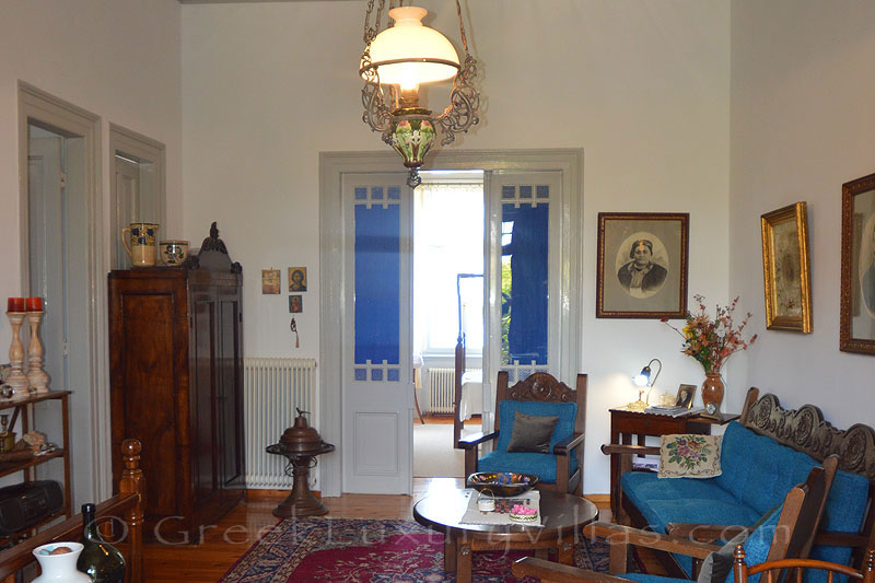 Lesvos traditional villa with pool in Molivos living room