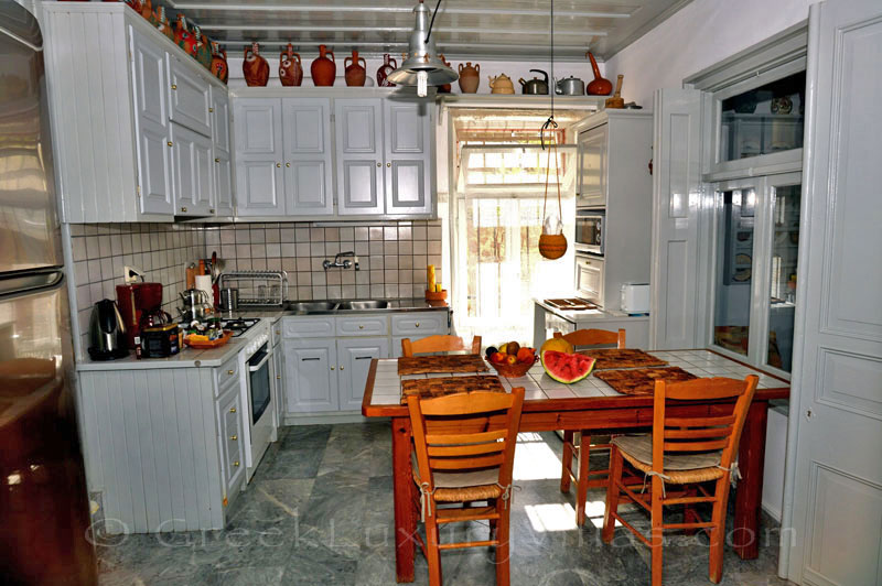 Lesvos traditional villa with pool in Molivos kitchen