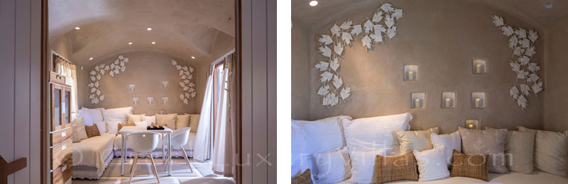 A romantic bedroom of a luxury villa with a pool in Naxos