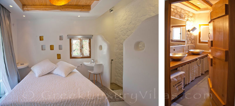 The romantic bedroom in a luxury villa with a pool in Naxos