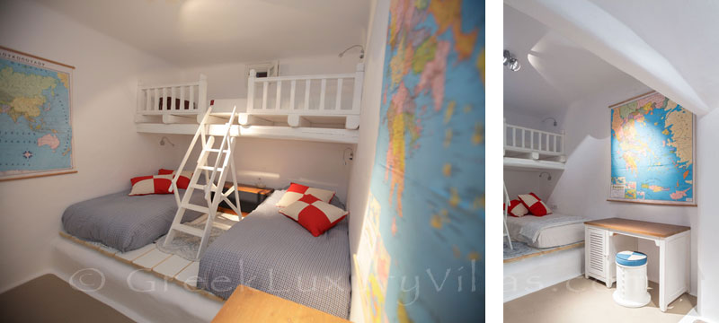 The kids bedroom in a luxury villa with a pool in Naxos