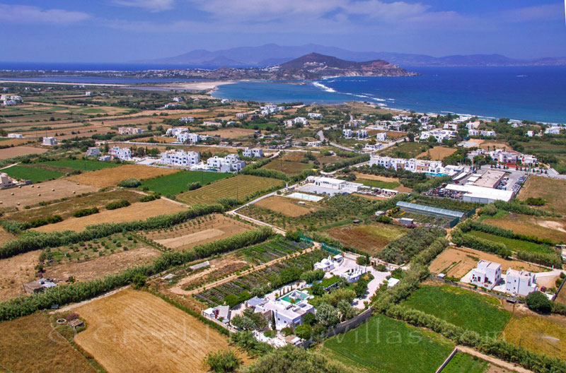 Aerial photo of a luxury villa with a pool in Naxos