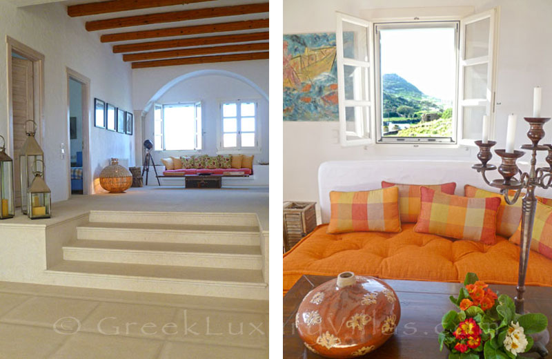 The living-room in the beachfront villa in Patmos