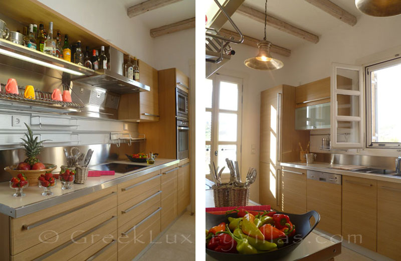 The kitchen of a beachfront villa in Patmos