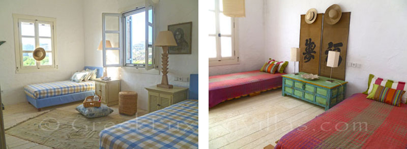 Bedrooms in a beachfront villa in Patmos