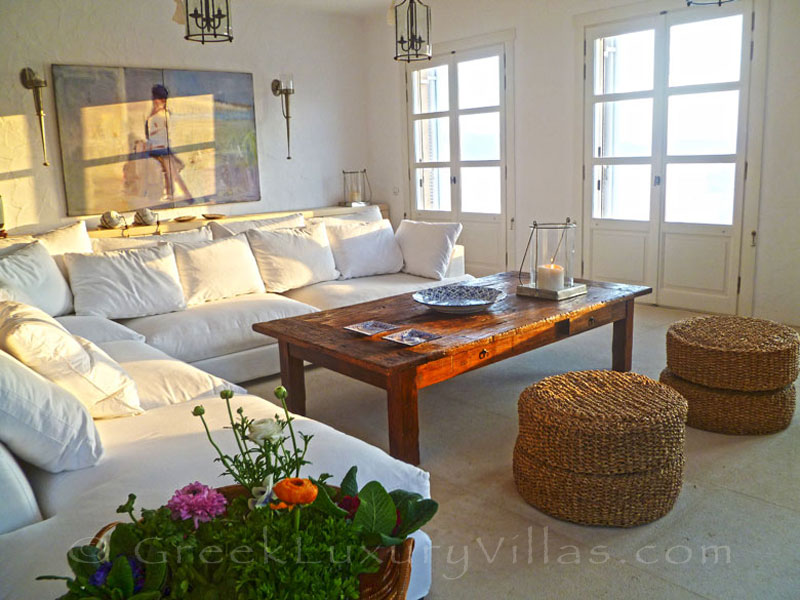 THe lounge of a beachfront villa in Patmos