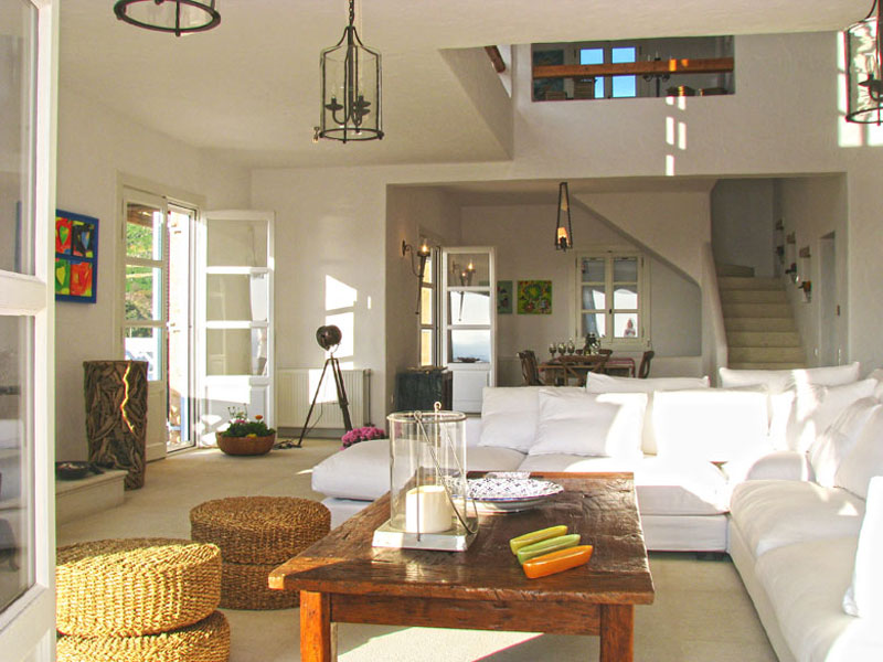 The living-room in a beachfront villa in Patmos