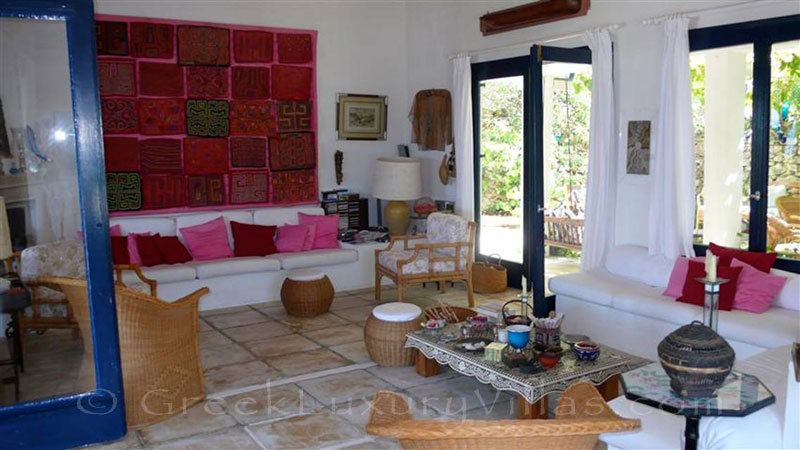 The living-room of a beachfront villa in Paxos