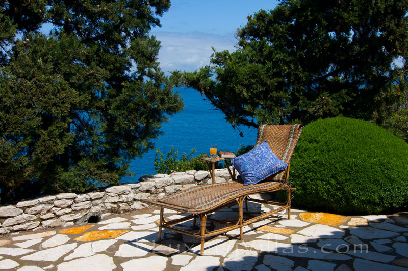 A terrace with seaview at a beachfront villa in Paxos