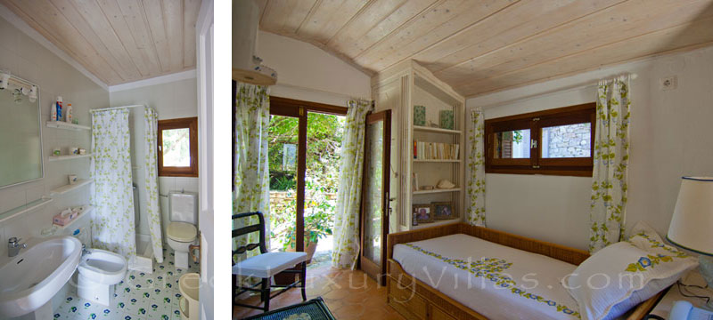 A bedroom by the garden of a beachfront villa in Paxos