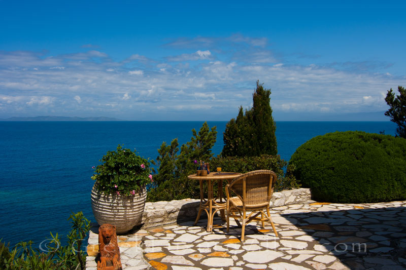 Seaview from a beachfront villa in Paxos