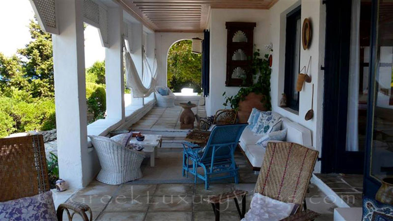 The veranda at a beachfront villa in Paxos