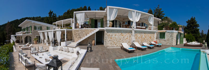 Seafront luxury villa with jetty boat in Paxos