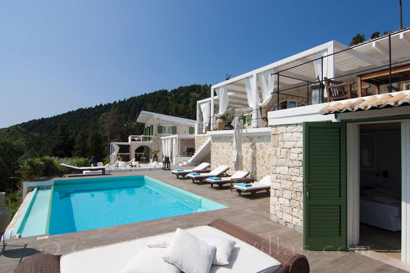 A seafront luxury villa with a big pool in Paxos