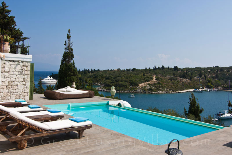 The ocean view from the pool of a seafront luxury villa in Paxos