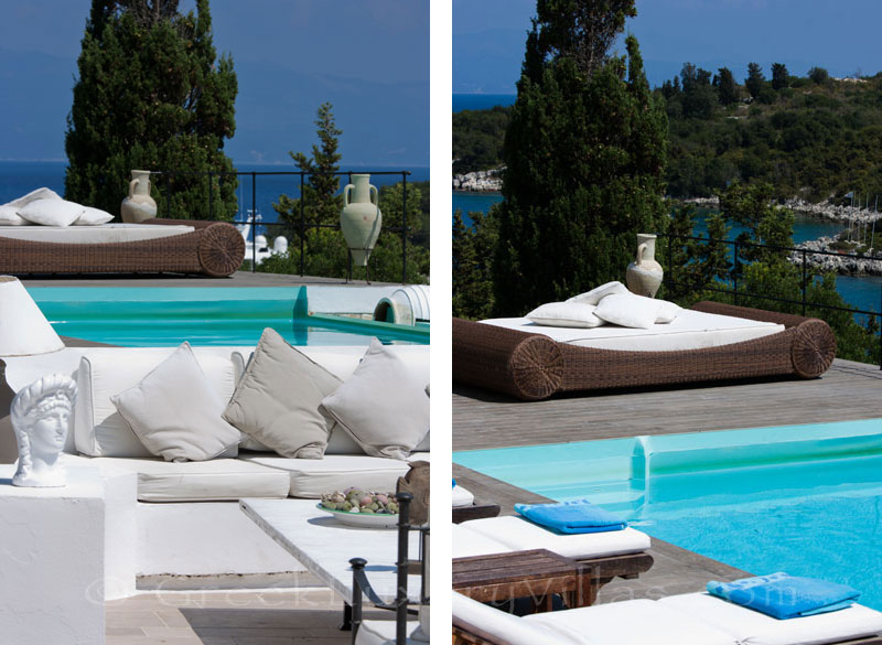 A waterfront luxury villa with a pool in Paxos