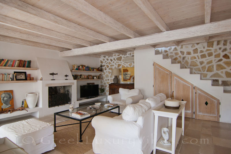 The living-room of a seafront luxury villa in Paxos