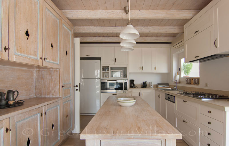 The kitchen of a seafront luxury villa in Paxos