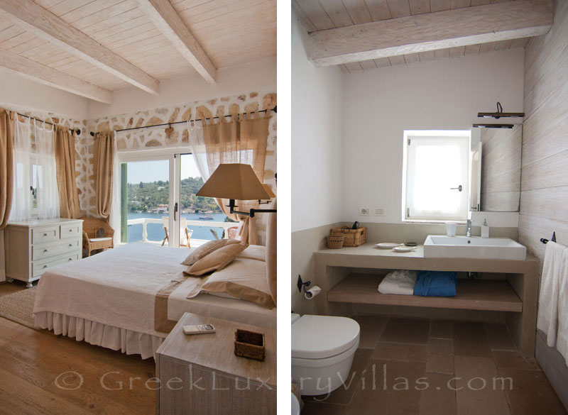 A bedroom with seaview in a luxury villa with a pool in Paxos