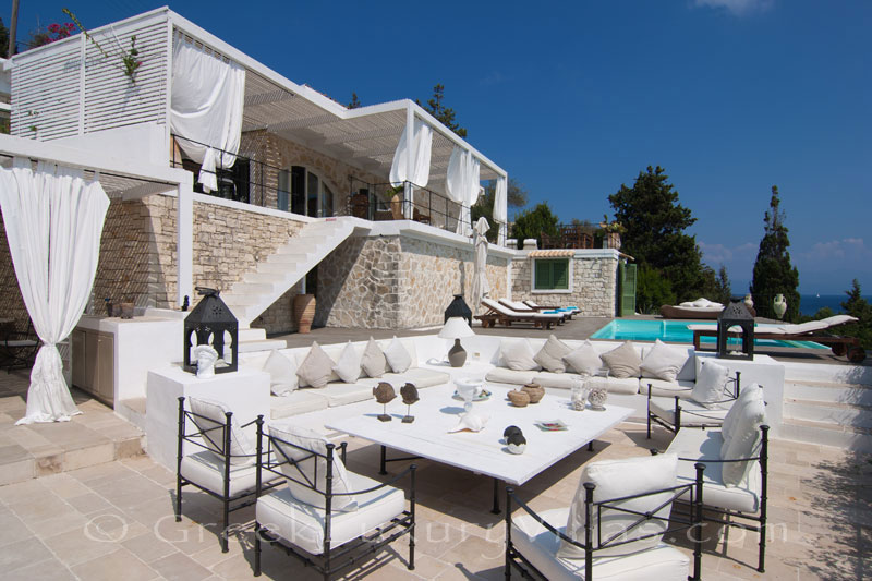 A seafront luxury villa with a pool in Paxos, suitable for big groups